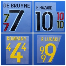 New Belgium LUKAKU DE BRUYNE WITSEL KOMPANY HAZARD football number name font print, Hot stamping Soccer patches badges