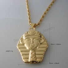 "Min order 10$/ CAN MIX DESIGN - YELLOW GOLD GP FILL BRASS 24"" ROPE NECKLACE&EGYPT Pharaoh PLAIN SURFACE VIVID LOOKING  PENDANT"