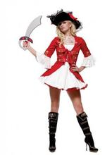 Rojo sexy traje de pirata capitán pirata disfraz de halloween cosplay carnival costume dress fancy dress adultos en stock