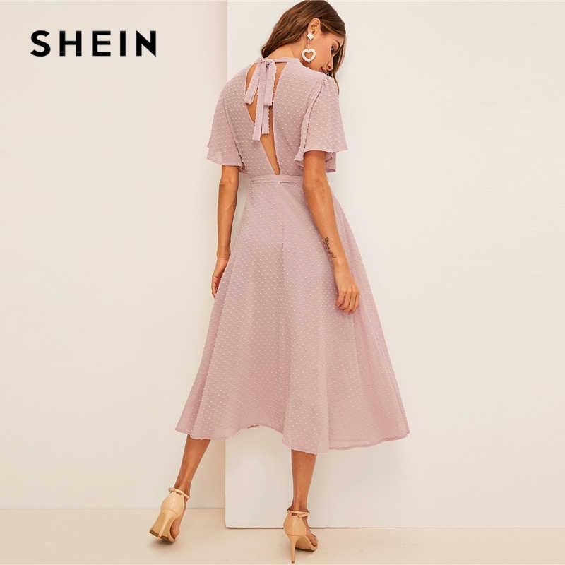 Shein Flutter Manches Suisse Dot Ceinture Robe Elegante Rose Pastel Solide Femmes Robes Col Montant Une Ligne Demi Manches Robes Aliexpress