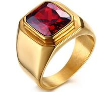 RC-321 New Gold  stainless steel Smooth Ring Band Great Large Red Stone 8-11# Unisex Men Bling