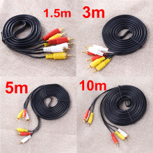 3/5M Gold Plated 3 RCA Composite Male to Male Audio/Video AV Cable For Hi-Fi Video, DVD, CD Player, Mini Disc(China)