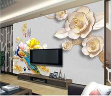 3d wallpaper custom mural non-woven wall sticker The peacock yulan TV setting wall paint wall paper photo wallpaper for walls 3d(China)