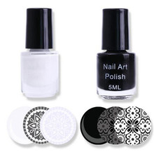 2 Bottles BORN PRETTY Nail Polish White & Black Color Nail Art Stamping Polish Nail Varnish Stamp Polish Set(China)