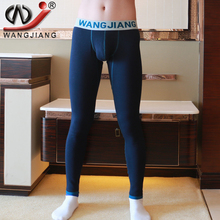 Long Johns Men Warm WJ Brand Low Waist Plus Thick Velvet Pouch Long Men Leggings Tights Underwear Mens Thermal Long Johns(China)
