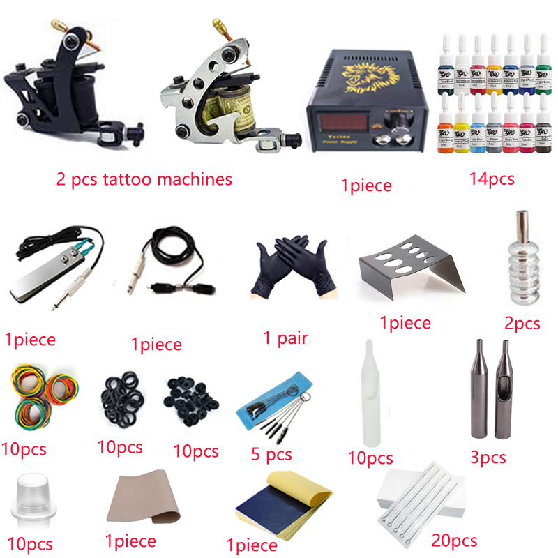 Complete Tattoo Kit With 2 Tattoo Machine  Tattoo Equipment Power Supply Kit (with Needles, Gun and Inks)<br>
