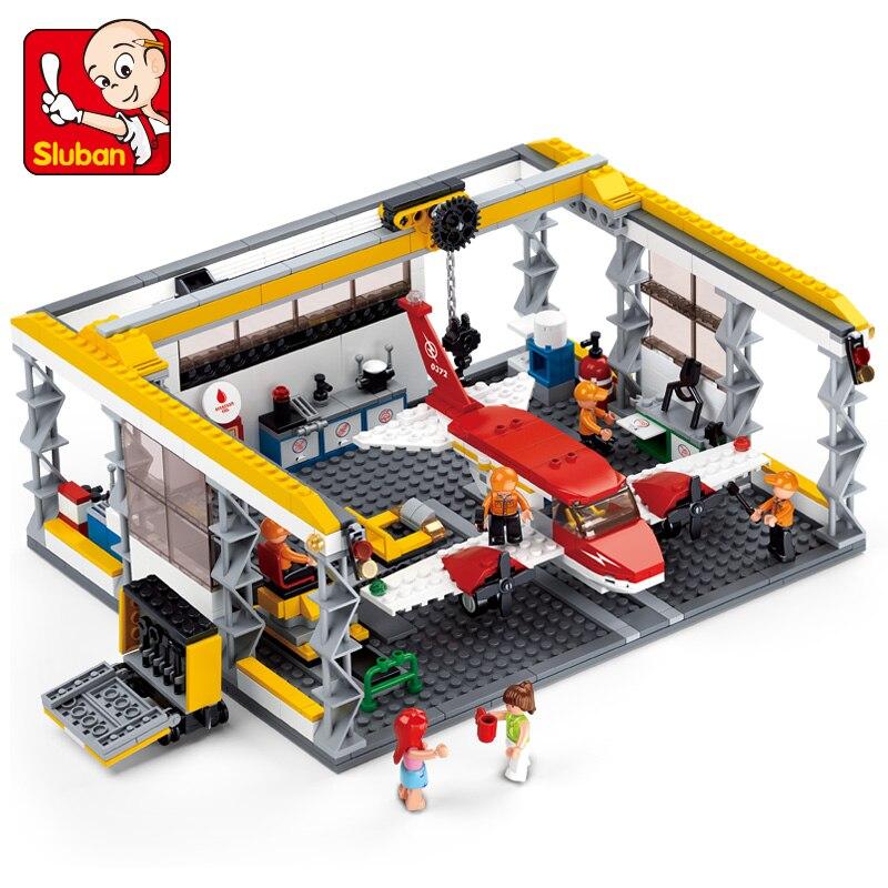 596Pcs Sluban Aviation City Small Aircraft Repair Shops Maintenance Platform Model Building Kits Blocks Bricks Toys For Children<br>