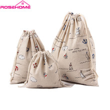 ROSEHOME Cute Drawstring Storage Bag Linen & Cotton Ship Cloud Printed Storage Bag for Clothing Snack Sundries Toys Home Decor