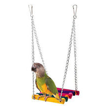 Swing Pet Bird Toy Parrot Cage Toys Cages Parakeet Cockatiel Lovebird Budgie Rainbow Colorful Cute Pet Toy(China)