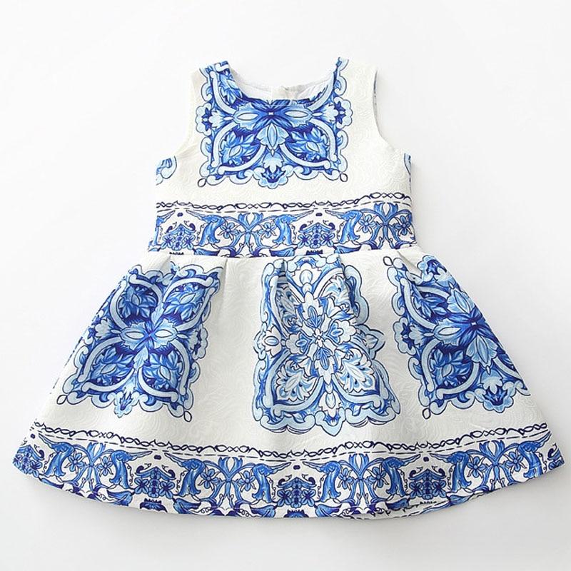 New Style Vintage Floral Dresses Sleeveless Blue&amp;White Porcelain Dress 2017 Fashion Girls Flower Dress Kids Clothes Wholesale<br><br>Aliexpress