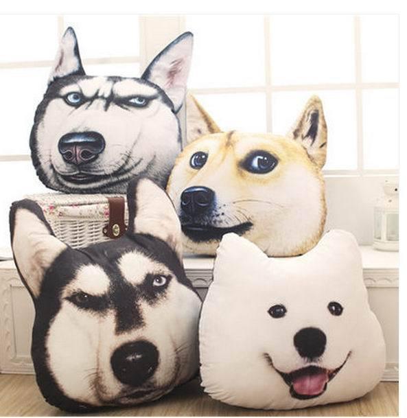 Free shippig NEW 3d dog head pillow cushion office sofa husky Akita Si amoyed dog doge cartoon pillow<br><br>Aliexpress