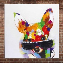 Hand Painted Abstract Animal Lovely Dog Oil Paintings On Canvas Colorful Puppy Wall Picture For Children's Room Home Wall Decor(China)