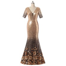 Free shipping Fashion Mermaid/Trumpet Floor length half sleeves Newest Luxury  Rose Gold Sparkle Prom Dresses Evening Dresses