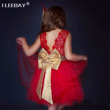 Baby Cute Dress 1 Year Baptism Dress Girl Evening Gown Children Strap Costume Kids Big Bow Sequins Princess Tutu Dress Vestidos
