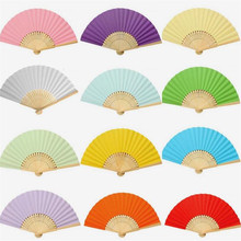 2017 New Chinese Solid Color Paper Folding Fan Bamboo Handle Children's Painting Fan DIY Handmade Early Childhood Care Supplies