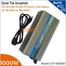 Grid Tie 1000W Micro Solar Inverter 10.5-28V DC to AC110V/220V Pure Sine Wave MPPT Inverter for 1200W PV Panel or Wind Turbine(China)