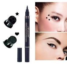 Hot Women's 2 in1 Eyeliner Makeup Trendy Black Waterproof Liquid Eyeliner Pencil maquillaje Star Heart Shape Dot Stamp Tattoo(China)