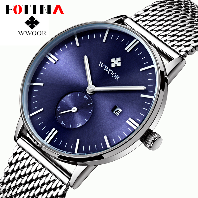 FOTINA Top Brand WWOOR Watch Men Date Clock Male Waterproof Quartz Watch Men Silver Steel Mesh Strap Casual Sports Wrist Watches<br><br>Aliexpress