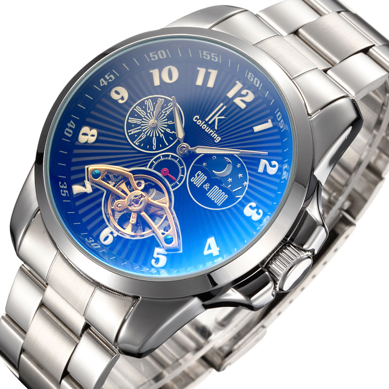 IK Colouring Men Automatic Self-Wind Mechanical Watches Full Steel Moon Phase Fashion Casual Digital Sports Watch<br>