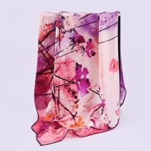 HA824  Women's 100% Mulberry silk pashmina printing scarf  12 momme Silk Satin  90cm*90cm hand screen print made in Hangzhou