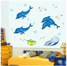 Dolphin Living Room Decoration Fluorescent Stickers PVC Removable Luminous Stickers Bedroom Security Wallpaper Home Decoration(China)