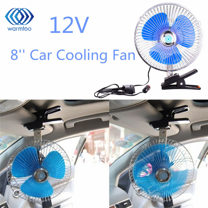 8 inch mini oscillating car air cooling fan clip on with cigarette lighter 1224v