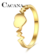 CACANA 2017 Fashion rings Women Gold/Silver Peach Heart Ring 316L Stainless Steel Delicate Wedding Anillos FULL SIZE 6-10(China)