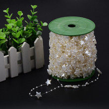 10m/pack Ivory/White Star And Round Artificial Pearl Beads Garland Wedding Centerpiece Table Decoration Crafting DIY Accessories