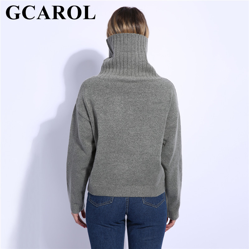 9b88b3f811 GCAROL 2018 Fall Winter Women Turtleneck Sweater 20% Wool High Quality Oversized  Knit Jumper Soft Hand Pullover In 3 Colors