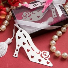 5pcs/Lot+Cheap Wedding Favors Metal High-Heeled Shoes Design Bookmark Bridal Shower Favor Stainless-Steel Bookmark+FREE SHIPPING