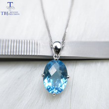 TBJ,Single Big natural sky blue topaz oval checkerboard cutting 10*14mm 6.5ct gemstone pendant in 925 sterling silver jewelry(China)