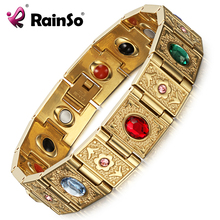 Rainso Stainless Steel Bio Energy Bracelet Fashion Health FIR Bangle Magnetic Jewelry Bracelets For lady(China)