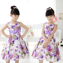 Baby Chic Girls Kids Princess Lavender Bow-knot Strap Sleeveless Wedding Party Flower Floral Chiffon Gown Fancy Dresses 2-11Y