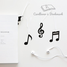 musician note bookmark cute kawaii black bookmarks with ribbon for kids student school gift stationery wholesale