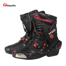 Riding Tribe Microfiber Leather Motorcycle Boots Anti-skid Anticollision Wearable Motor Bike Racing Shoes Motocross Boots A010(China)