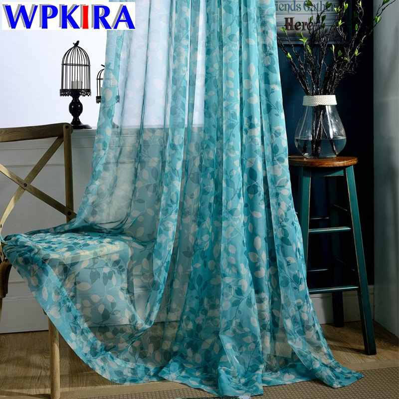 Polyester Blue Print Leave Tulle Curtain For Living Room Panels Sheer Voile Drapes Tulles For Kitchen Window Curtain WP100-30