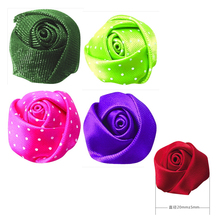 20MM Satin/Organza/Dots Ribbon Bud Rose Flower For Wedding Packing Cloth Hairbow DIY Crafts 200pcs Free Shipping