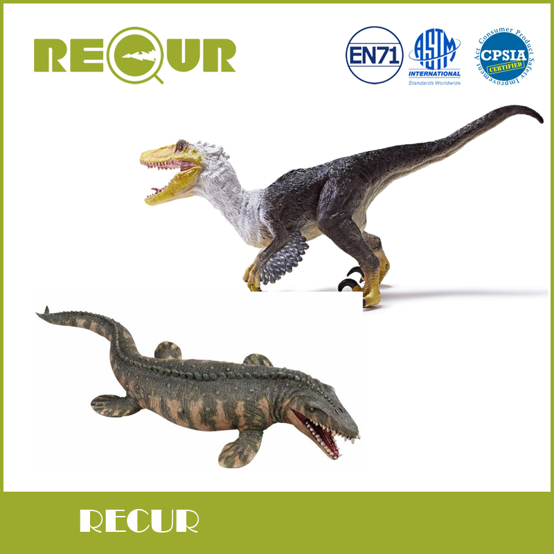Recur Original Classic Mosasaurus and Velocisaur Model Hand Painted PVC Dinosaur Action Figure Soft Dinosaur Toys For Children<br>
