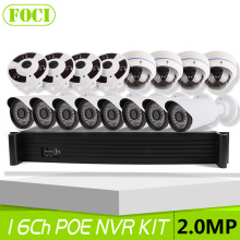 16CH POE NVR System Kit With 2MP 1080P Security Bullet & Dome IP Camera Fisheye Full View 16 Channel CCTV Security System