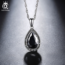 ORSA JEWELS 2017 Fashion Water Drop Pendant Necklace with White or Black AAA Austrian Cubic Zircon For Women ON125(China)