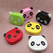 Brand New Hot Selling Lovely Cartoon Panda Candy Color Contact Lens Box Case For Eyes Care Kit (Color:White,Green) Good Quality