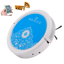 NEWEST Arrival Fashion Fresh Blue Color  Smartphone WIFI App Robot Vacuum Cleaner Robot Aspirador Updated with 150ml Water Tank