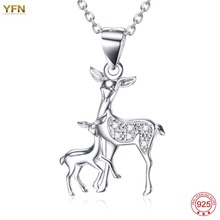 YFN Genius 925 Sterling Silver Animal Necklace Cute Deerlet Fawn Pendants Baby with Mother Family Necklaces Jewelry Suspension(China)