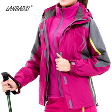 LANBAOSI Windproof Waterproof Jackets for Women Reflective Hooded Skiing Travel Jacket Thermal Fleece Liner 3 in 1 Female Coat
