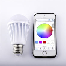 NEW AC85-240V Milk White Shell E27 RGBW (SMD5050 RGB + SMD2835 Warm White) Led Bulb Builted-in Wifi IP Address(Android or IOS)