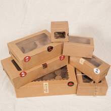 Large Brown Muffin packaging 6 cupcake boxes 8,Kraft paper gift cake box with pvc window, 4 cupcake packing craft paper box(China)