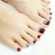 24Pcs Fashion Gray & Coffee Toe False Nails Summer Full Cover Nail Tips Acrylic Fake Toe Nails(China)