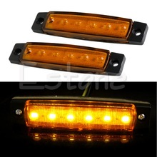 1 Pair 6 LED Bus Van Boat Truck Trailer Side Marker Tail Light Lamp Yellow/Amber 12V
