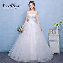 It's Yiiya Tulle O-Neck Sleeveless Wedding Dresses Cheap White Princess Bride Ball Gowns Real Photo Vestidos De Novia H602(China)
