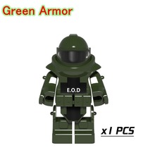 Green Anti-explosion Clothing Mini Bricks Single Sale SWAT Weapons Building Blocks Toys For Children PGPJ4028